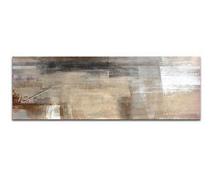 150x50cm - Abstract Painting Brown Beige Panorama Wandbild Leinwand Keilrahmen