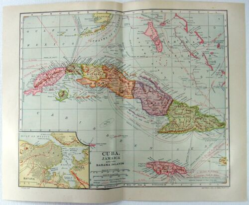 Antique 1912 Dated Map of Cuba, Jamaica & The Bahama Islands by Dodd Mead & Co.