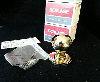 Schlage Single Dummy Door Knob Trim A170-ORB-605 Bright Brass Orbit Style