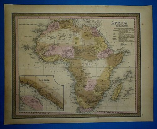 1849 S A Mitchell Universal Atlas Map ~ AFRICA LIBERIA ~ by TANNER Old Authentic
