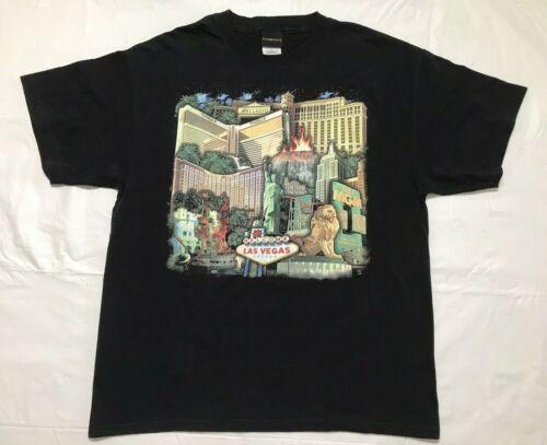Vtg MGM Mirage T Shirt Size Large Black Las Vegas Bellagio Casino Hotels