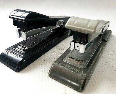 Lot Of 2 Vintage Bostitch B8 Stapler Black Gray - Tested - Works Retro