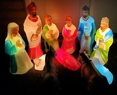 Vintage 11PC Nativity Blow Mold Set Christmas Lights Work NICE