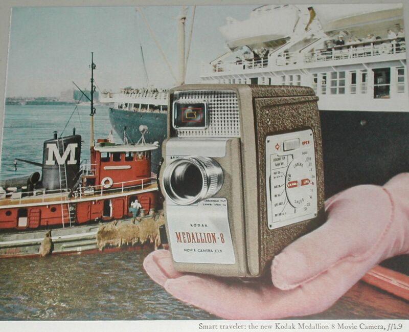 1957 KODAK advertisement, Medallion-8 movie camera, Moran Tugboat, liner tug