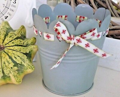 Madley` s, Übertopf, Blumentopf, Grau, Stoffband, Schneeflocke, Shabby, Franske gebraucht kaufen  Backnang