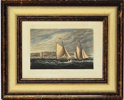 Stahlstich koloriert Ryde Isle of Wight England Schiffe Meer 39 x 31 cm