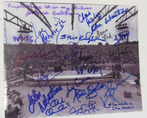 Woodstock 1969 Signed 8X10 Stage By 20 (5 Deceased ) Kantner Slick Winter + 17 !