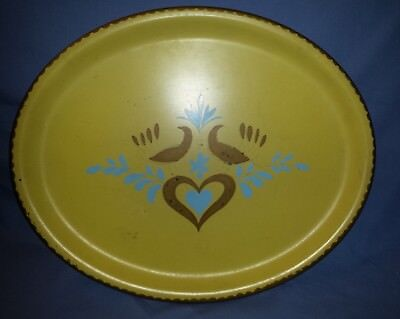 """Large Vintage Metal Oval Serving Tray 13"""" Long Yellow Blue Brown Heart Birds"""