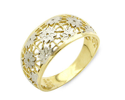 Woman's Filigree Flower 9.5 mm Wide Dome Ring in 14k SOLID Gold
