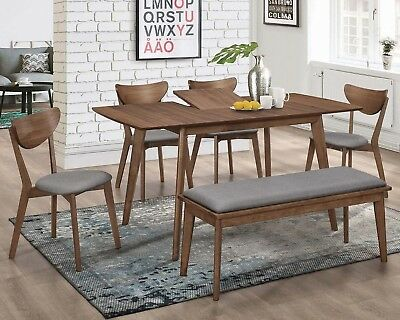 Butterfly Extension Table Set (Mid Century Modern Walnut 6-Piece Dining Set With Extension Leaf)