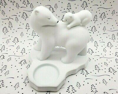 Partylite Polar Bear Mama and Cub Votive/ Tealight Holder FREE -