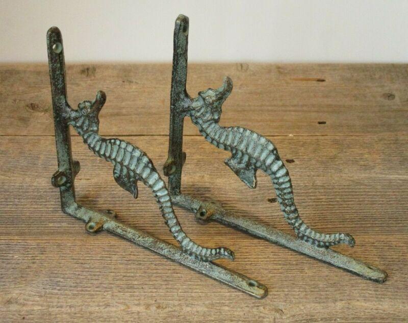 4 Cast Iron NAUTICAL SEAHORSE Brackets Garden Braces Shelf Bracket Book Beach