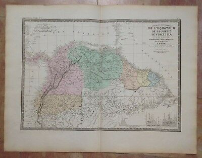 REPUBLICS OF ECUADOR COLOMBIA VENEZUELA by BRUE 19e CENTURY LARGE ENGRAVED MAP