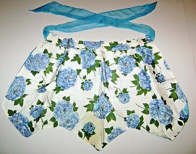 Vintage Kitchen Baking Apron Blue Flower Print Reversible with Pocket Blue Kitchen Apron