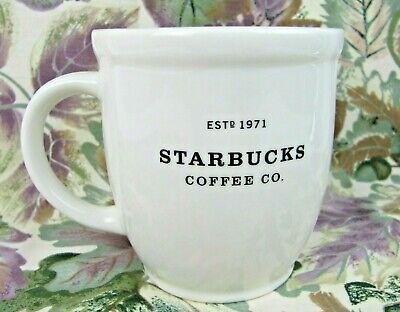 Starbucks 2007 Vintage 18 oz White Ceramic Coffee Mug Black Letters Est.1971