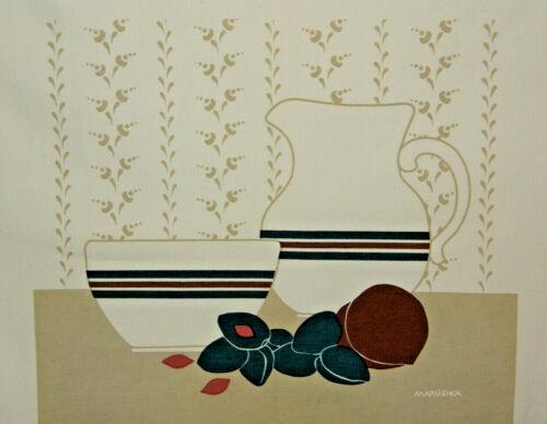 Vintage 70s Marushka Pitcher Bowl Fruit Screen Print Canvas Fabric MCM Art 21x24