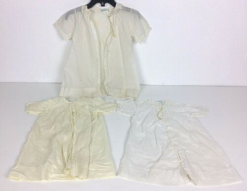 3 Antique Baby Dress Gowns Robes Off White Handmade Feltman Bros. Vintage Infant