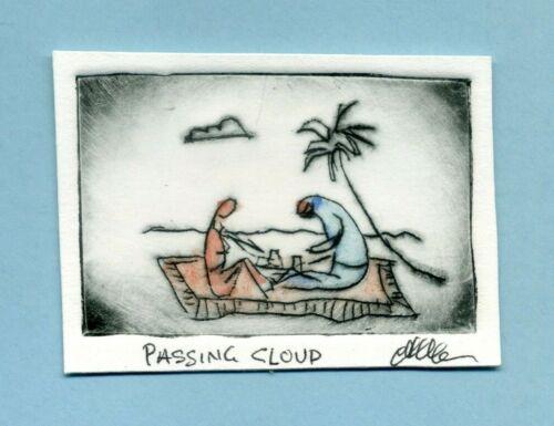 BEACH PICNIC & Palm Tree Original Watercolor ETCHING Signed Miniature Art Print