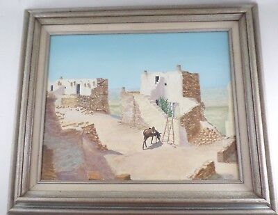 James M Burkhart Missouri Artist Oil Painting Hopi World at Walpi Village