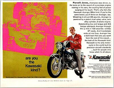 Kawasaki Motorcycles Are You The Kind Poster Offer 1968 Vintage Print Ad