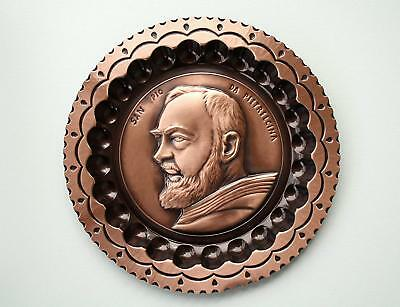Decorative plate PADRE PIO da PIETRALCINA to hang copper WITH HOOK