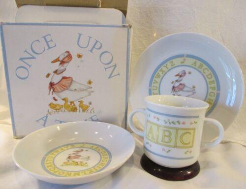 VINTAGE CHILD PLATE, BOWL, 2 HANDEL CUP MUG ABC MOTHER GOOSE PORCELAIN JAPAN BOX