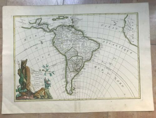 SOUTH AMERICA 1762 Jean JANVIER LARGE ANTIQUE ENGRAVED MAP OLD COLORS