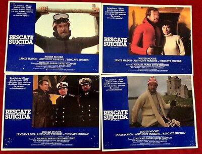 SPECIAL FIND 1979 Movie Lobby Cards in Spanish ROGER MOORE in RESCATE SUICIDA