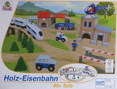 Holzeisenbahn 80+ Teile elektrischer Zug mit Vorwärts & Rückwärtsfunktion / NEU!