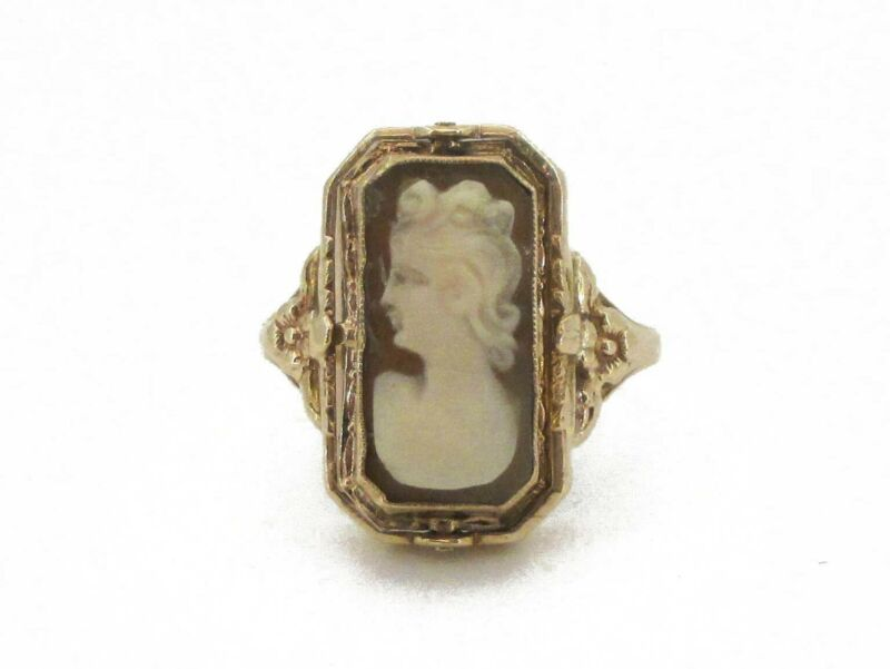 Antique Victorian 10k Yellow Gold Natural Cameo Onyx Spinner Ring 4.2g i3595