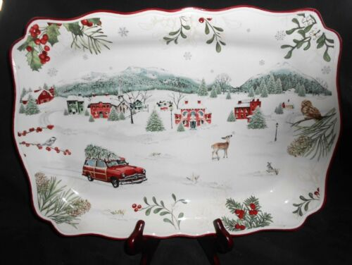 "Better Homes and Gardens Heritage Collection Winter Forest 1 Platter 19"" New s22"