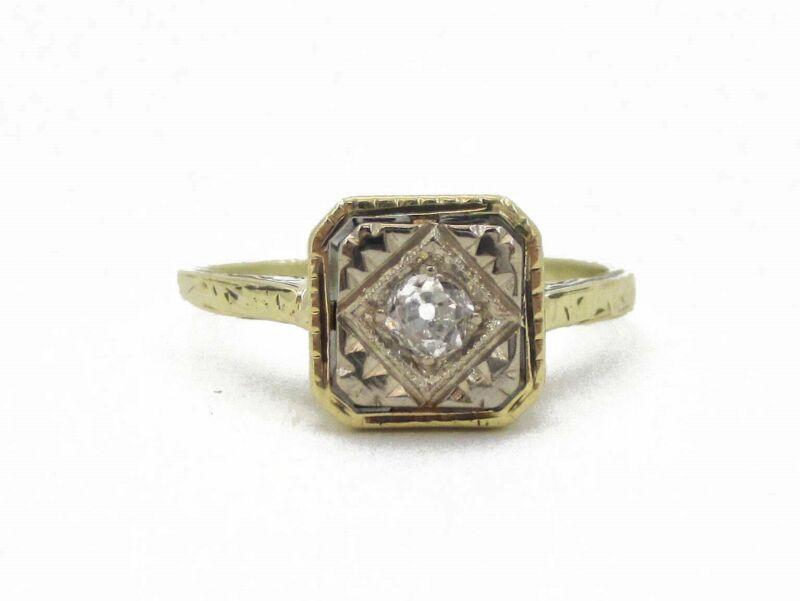 Antique Edwardian 14k Yellow Gold European Cut Natural Diamond Ring 2.5g i3591