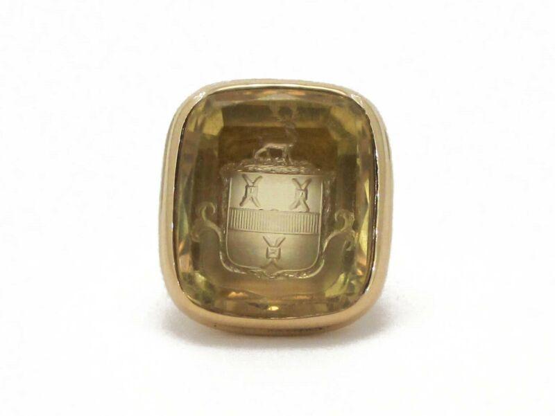 Antique 14k Yellow Gold Natural Citrine Intaglio Crest Mens Ring 15.8g i3930