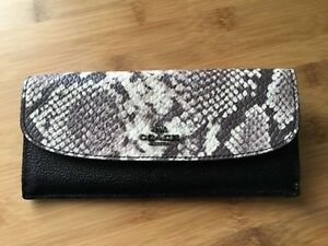 Brand New Coach Soft Wallet w/ Snake Embossed Leather Trim