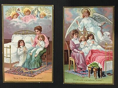 4 Antique Embossed Postcards ANGELS CHILDREN PRAYERS 1909 Geo. F. Holbrook NICE