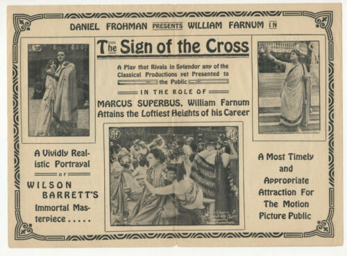 WILLIAM FARNUM - Vintage 1914 THE SIGN OF THE CROSS Silent Film MOVIE HERALD