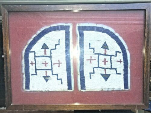 Framed Native American Plains Possibly Sioux Geometric Beaded Leather Fragments