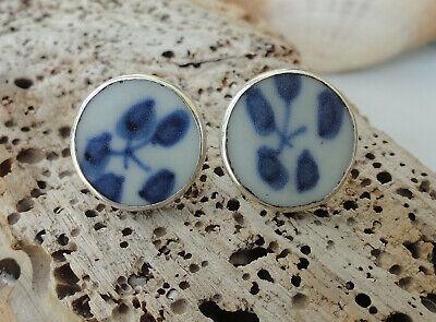 Sterling Silver Porcelain Earrings, Blue & White Ming Shard Post Earrings, 925