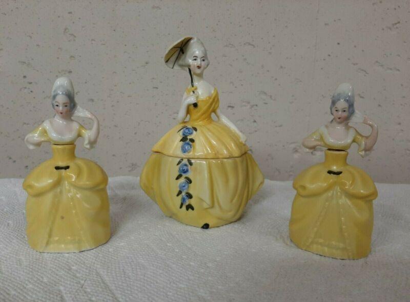 Erphila Germany Antique Porcelain Dresser Figurines a set of three.