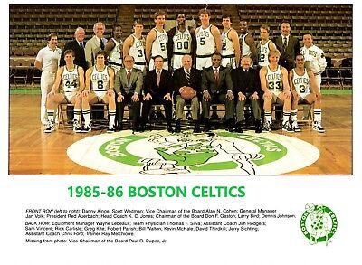 1985-86 BOSTON CELTICS 8X10 TEAM PHOTO BASKETBALL PICTURE NBA