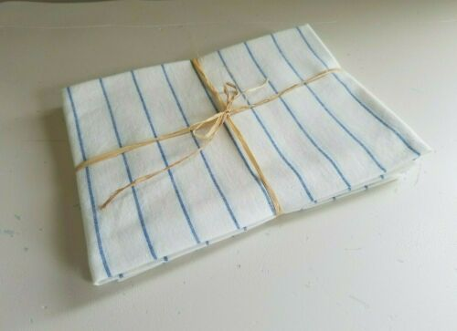 (3) Vintage White BLUE Striped Cotton Kitchen Dish Towels Glass PASTRY Cloth