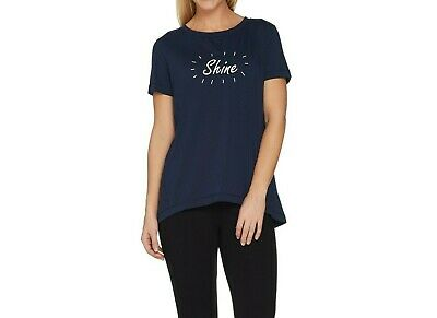 AnyBody Loungewear Cozy Knit Short Sleeves Message Top Navy/Shine X-Large Size  Top Cotton Knit Loungewear