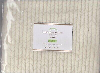 2 pottery barn Velvet Channel Standard Shams Ivory Cotton Velvetg