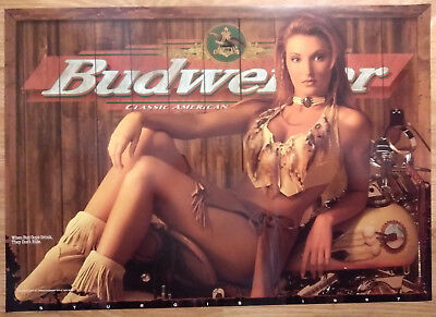 Sexy Girl Beer Poster Budweiser ~ Motorcycle Bike Week 1997 Sturgis