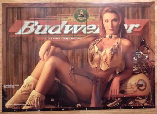 Sexy Girl Beer Poster Budweiser ~ Motorcycle Bike Week 1997 Sturgis
