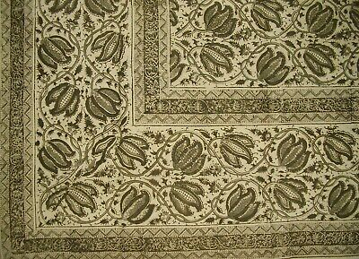 "Veggie Dye Block Print Cotton Tablecloth 90"" x 60"" Olive Green"