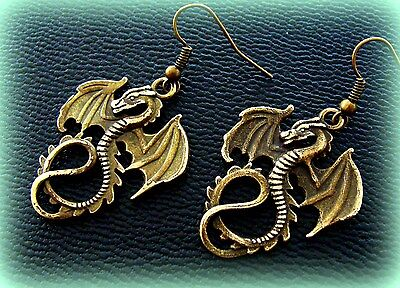 Winged SEA Serpant DRAGON EARRINGS ANTIQUE Art Nouveau Style Jewelry