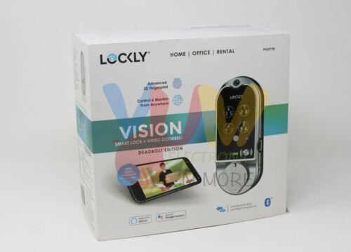 LOCKLY Vision Satin Nickel Deadbolt with Video Doorbell Smart Lock PGD798