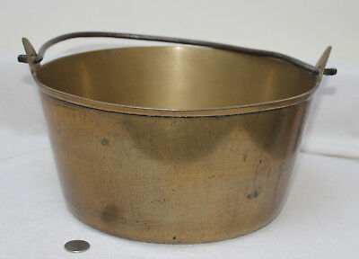 Antique Large Brass with Wrought Iron Handle Jam Chutney Preserve Pan