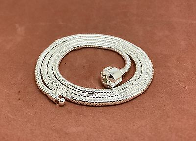 New 925 Silver Chain Necklace fit European Beads Charms Pedant Jewelry US - Silver Beaded Necklaces